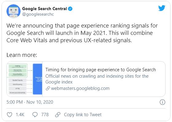 google ogłasza core web vitals jako czynnik rankingowy